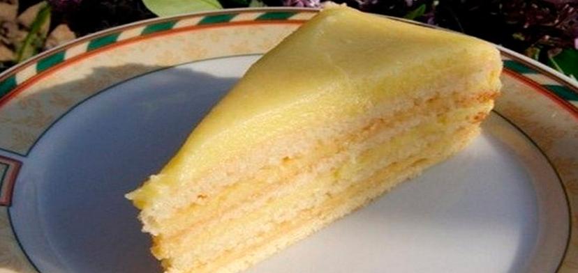 Торт наполеон творожный с заварным кремом