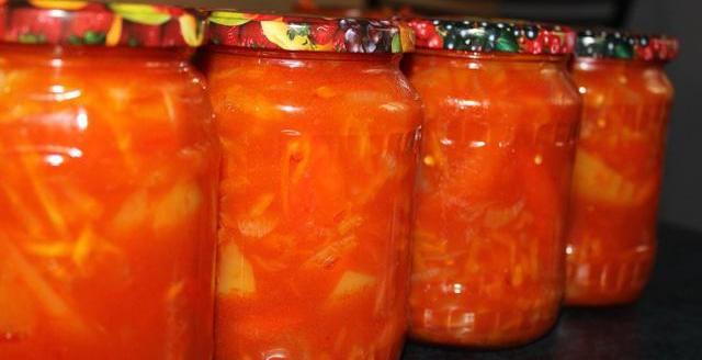 Рецепт салата на зиму из помидоров перца и лука